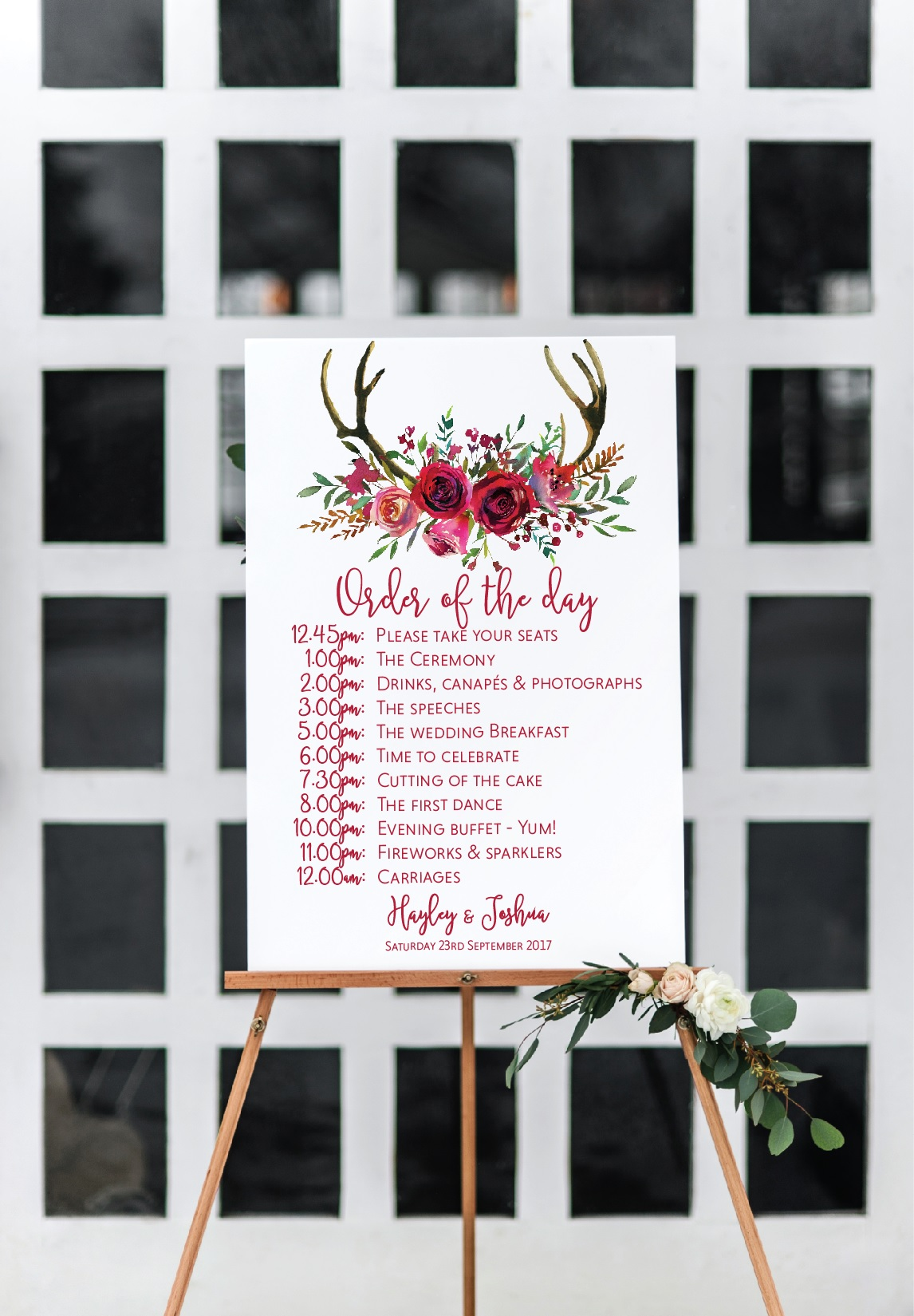 Red rose wedding sign