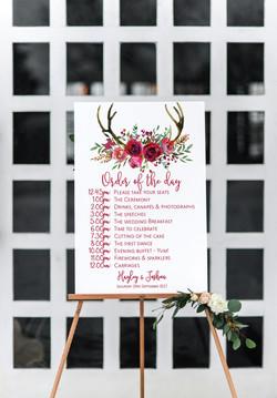 Red rose wedding sign