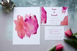 pink watercolour wedding invitations