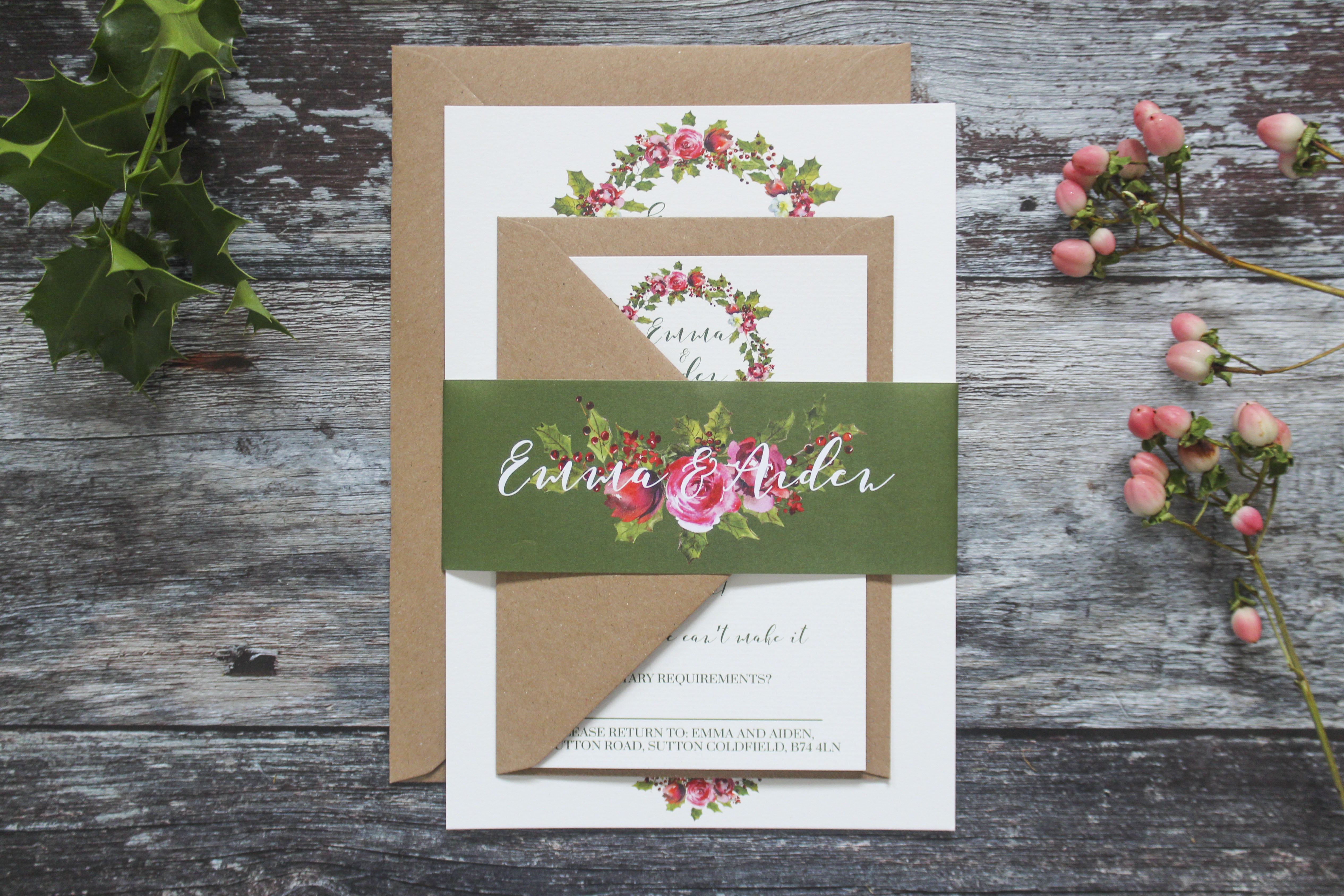 winter wedding wreath stationery suite