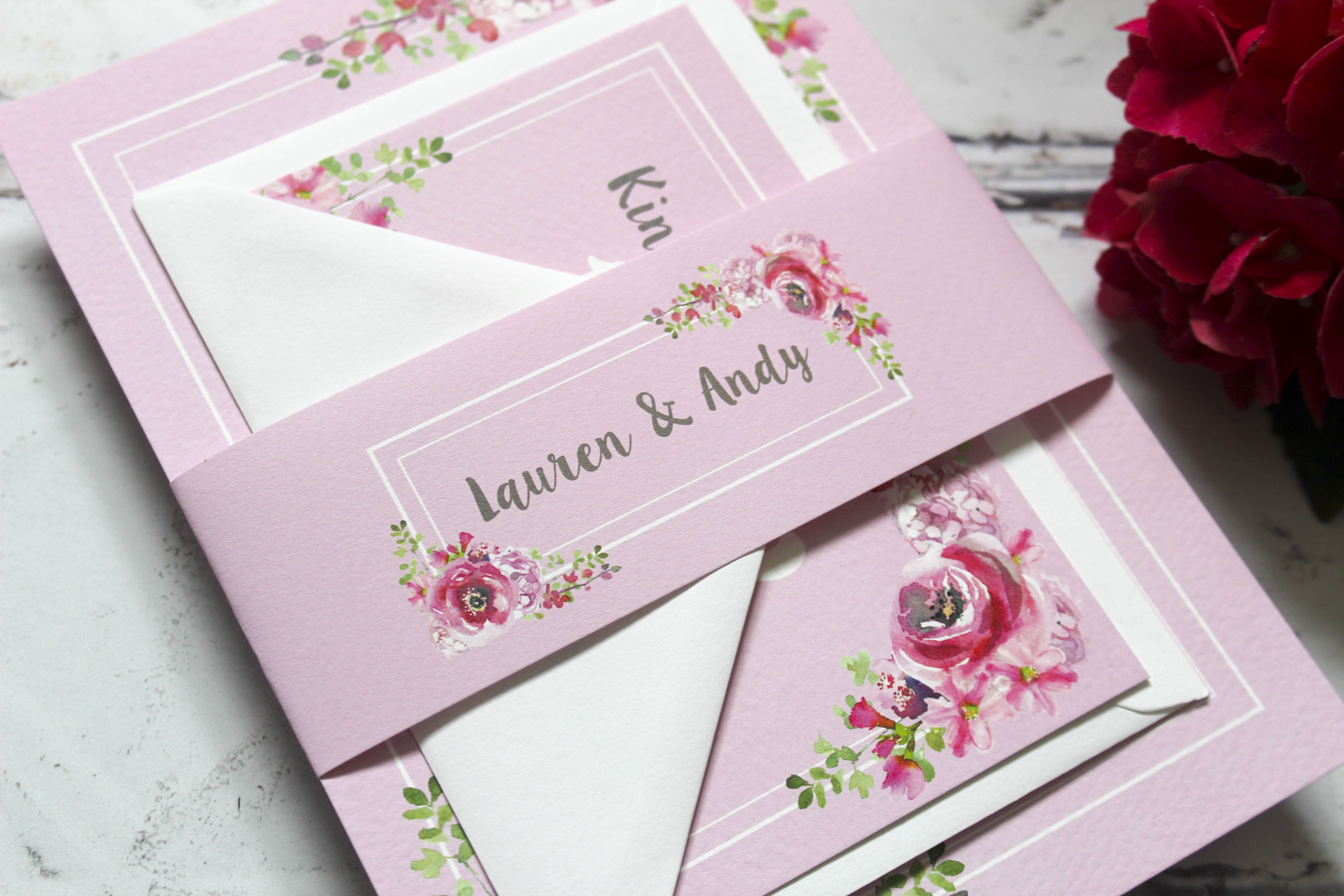 Rustic floral wedding invite set
