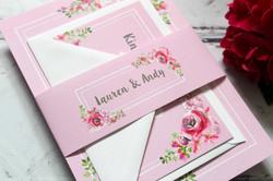 Rustic floral wedding invite set