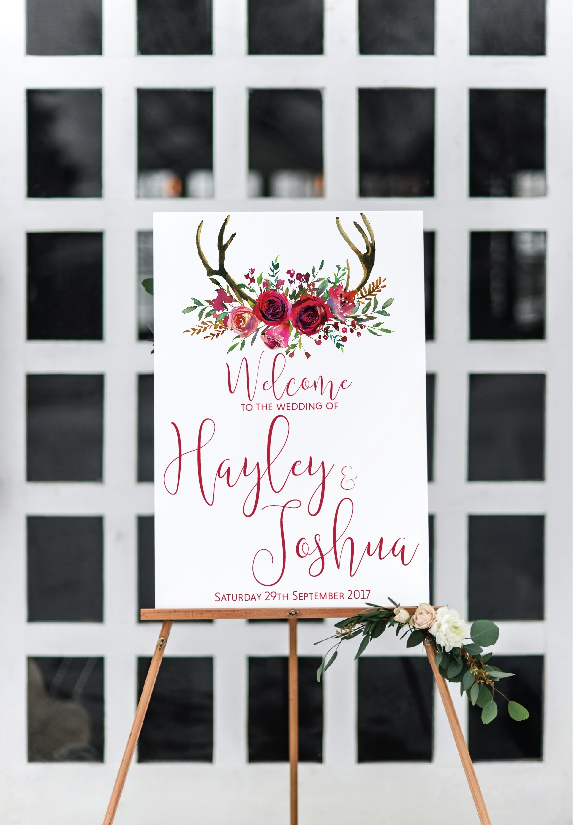 deer antler wedding welcome sign