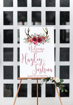 deer antler wedding welcome sign