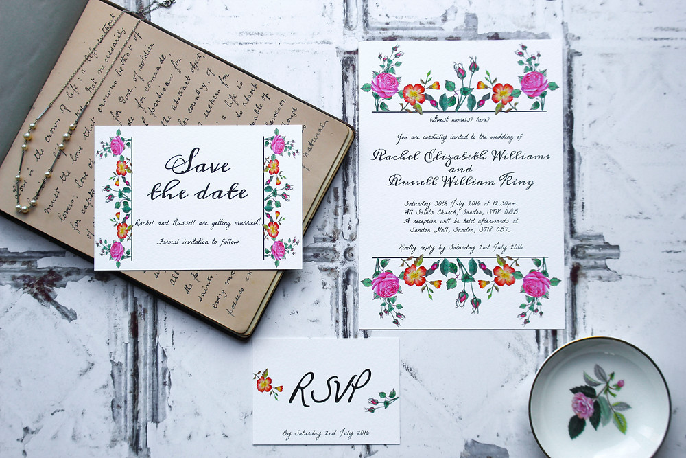 vintage style wedding stationery i love and love