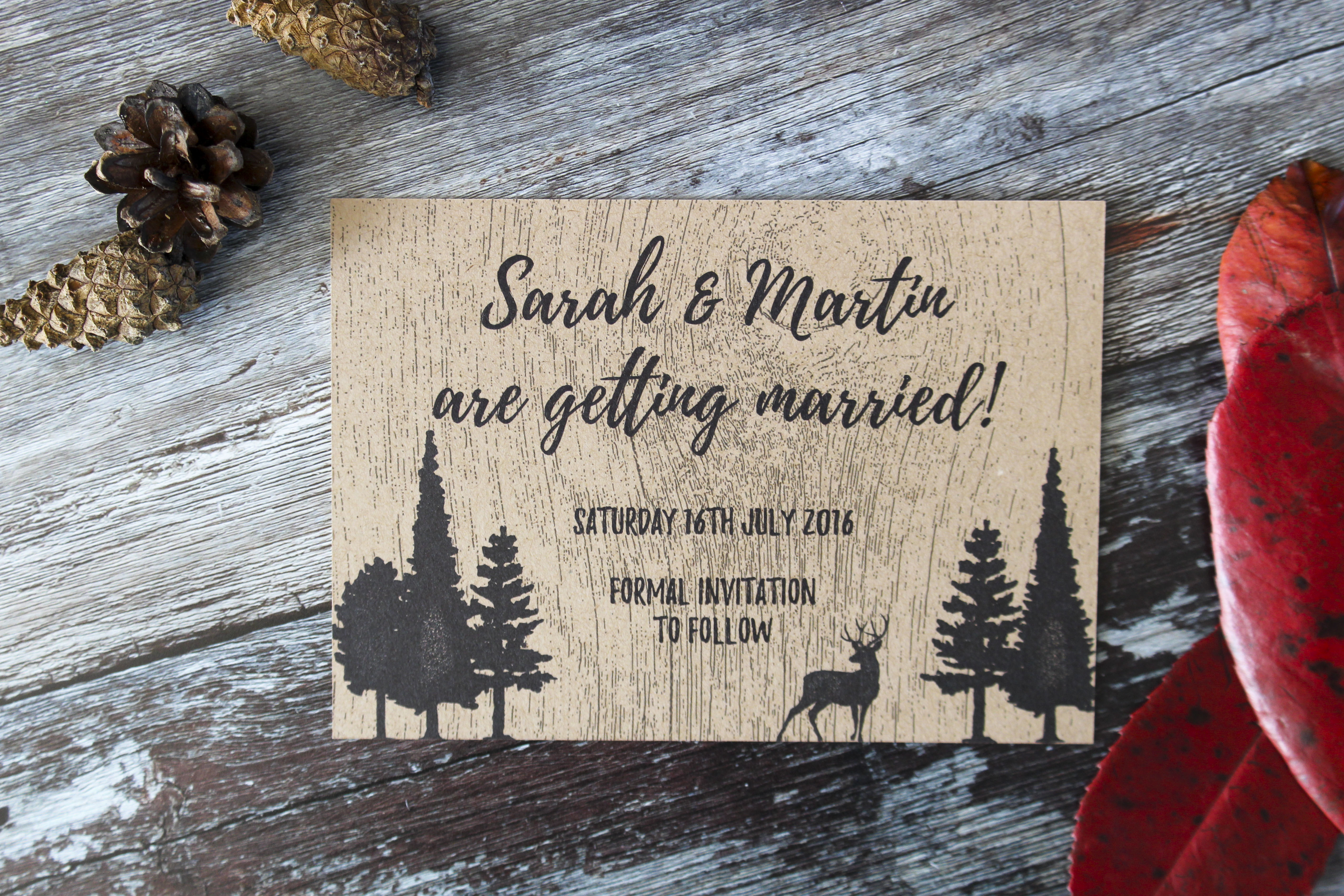 woodland forest deer save the dates