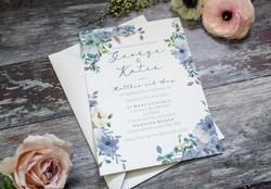 dusky blue wedding stationery