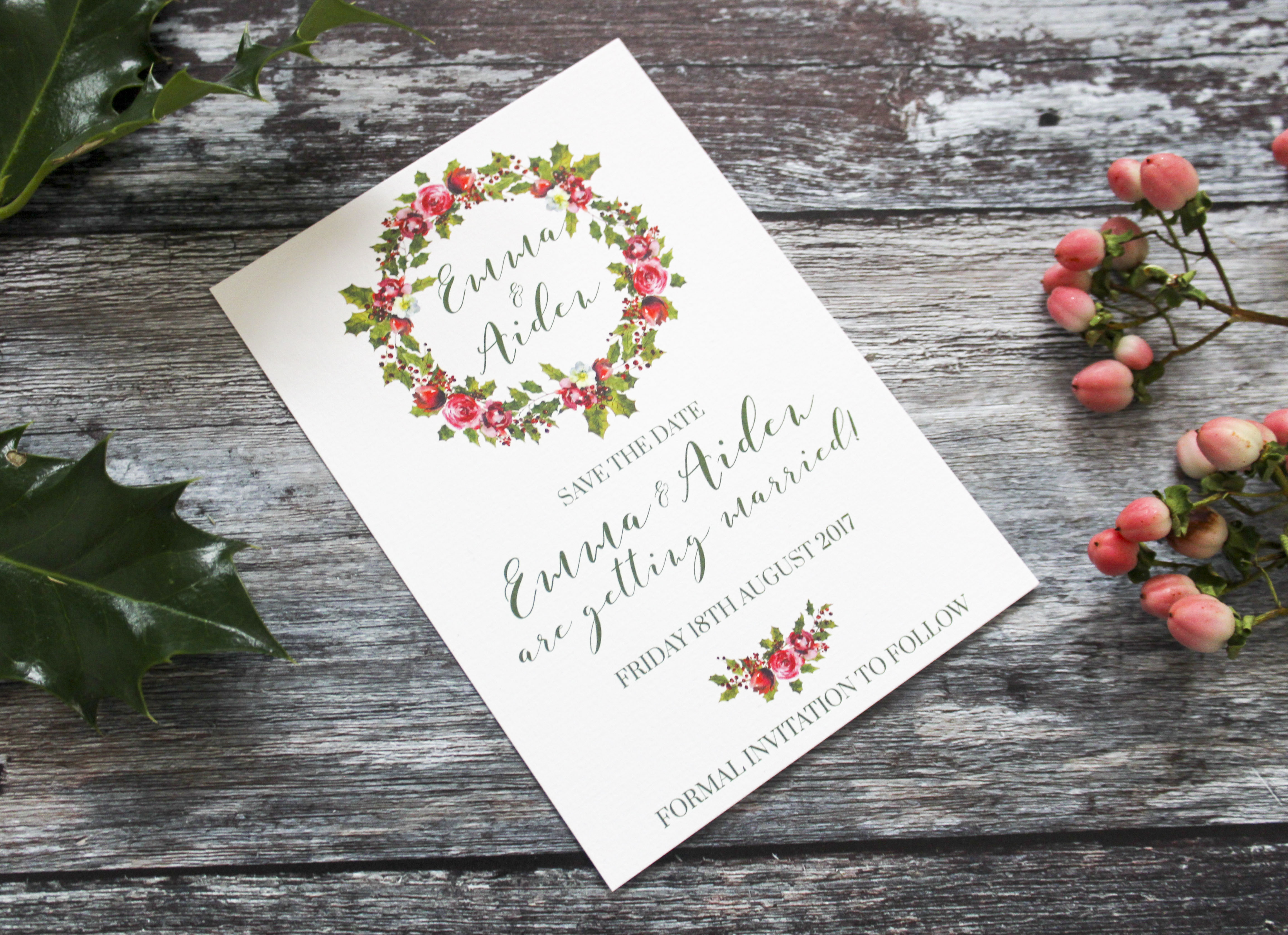 winter wedding save the dates