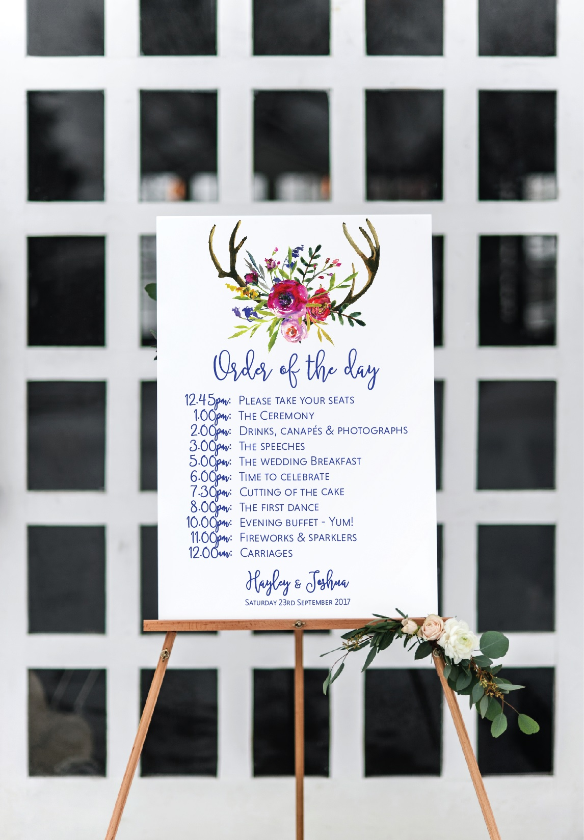 Deer antlers wedding sign