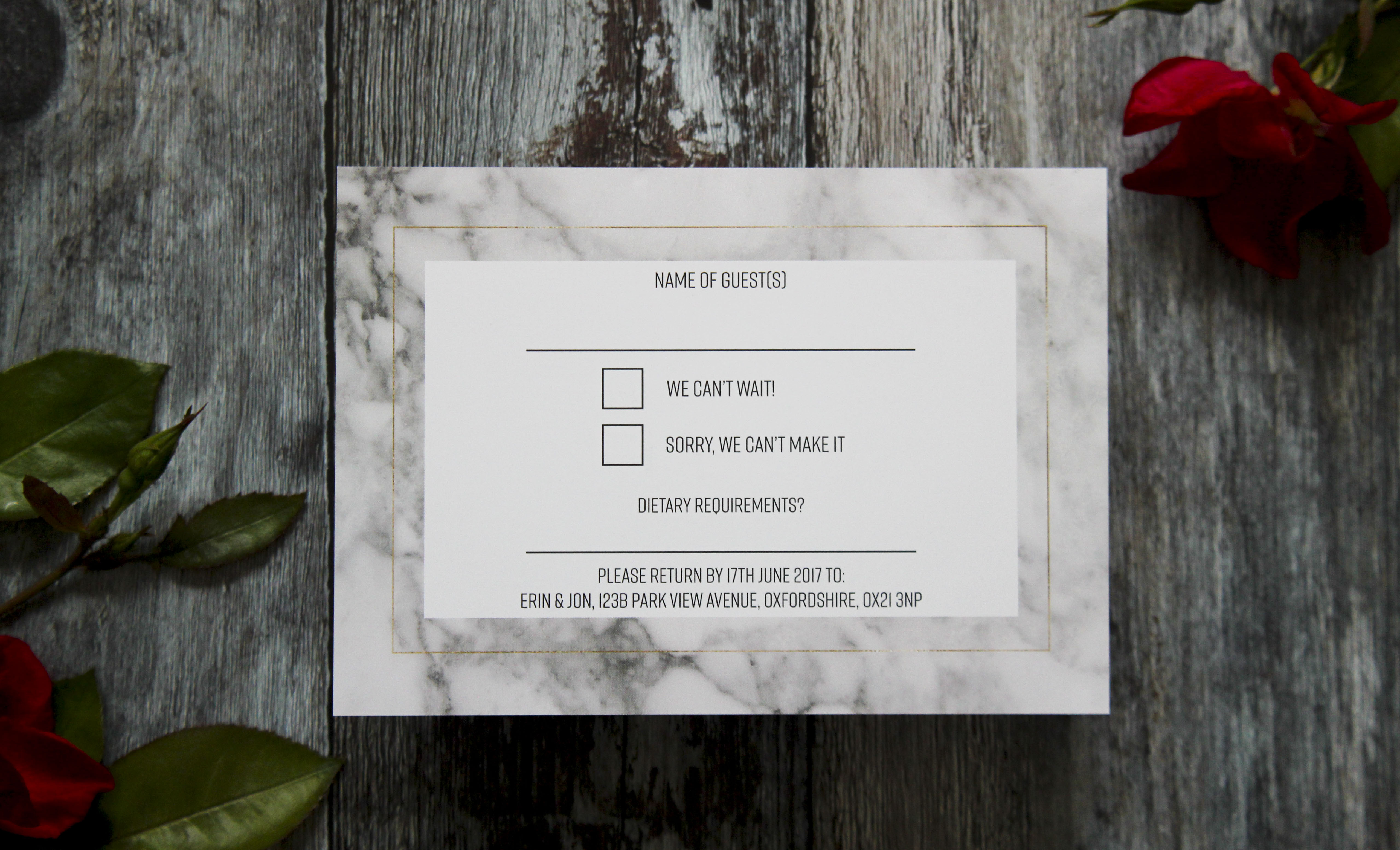 Marble and gold wedding rsvp cards