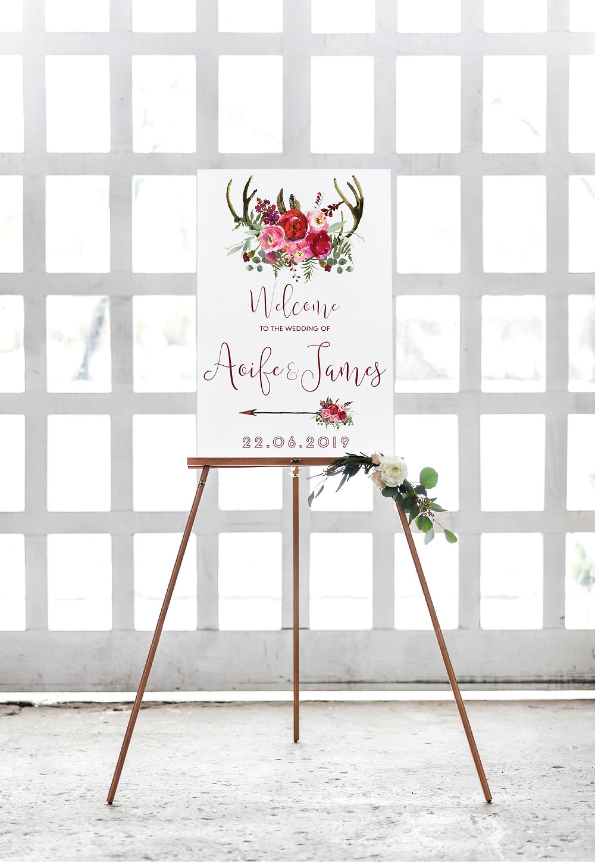 antler wedding rustic floral wedding sign