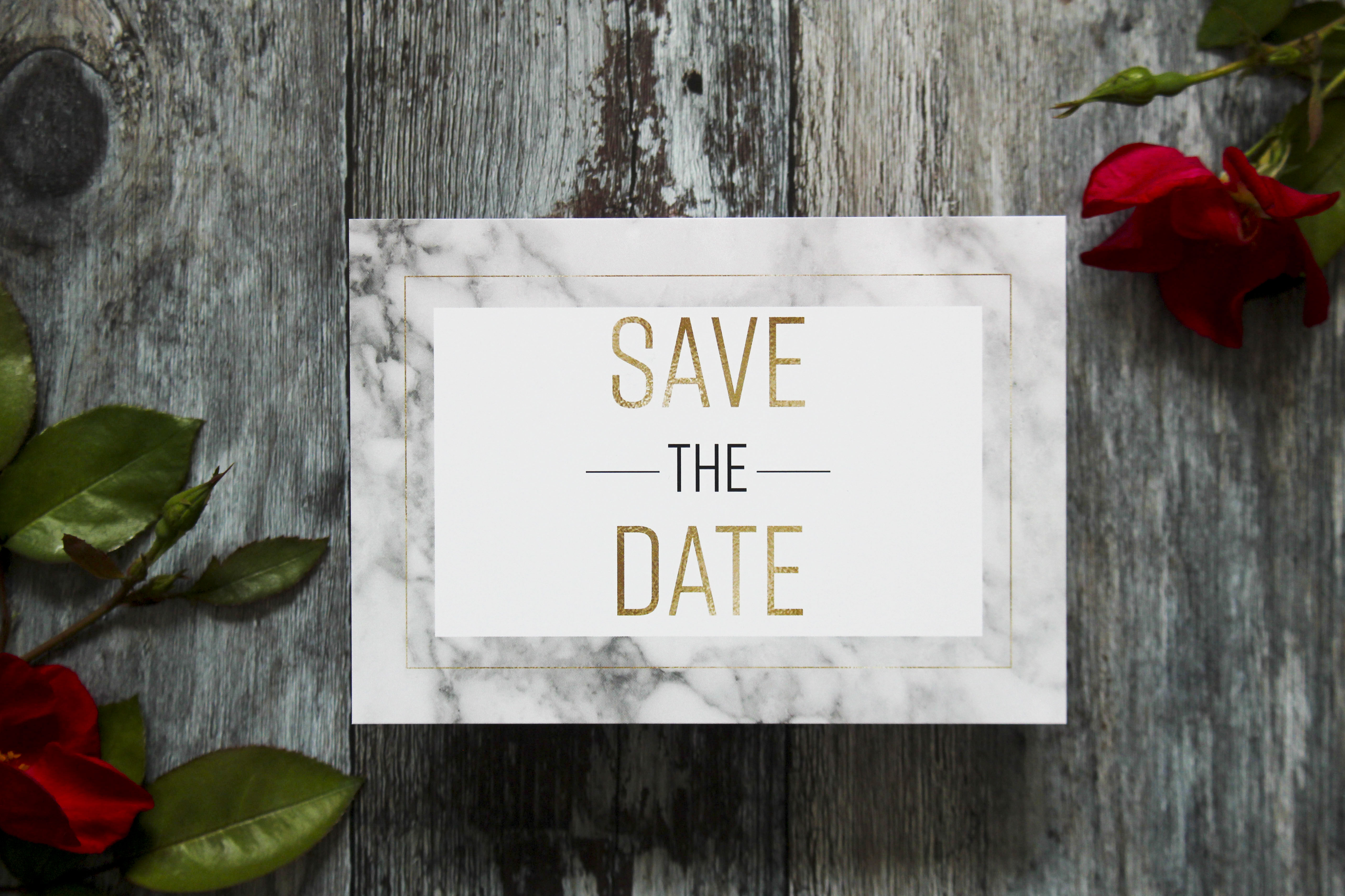 Marble wedding save the dates
