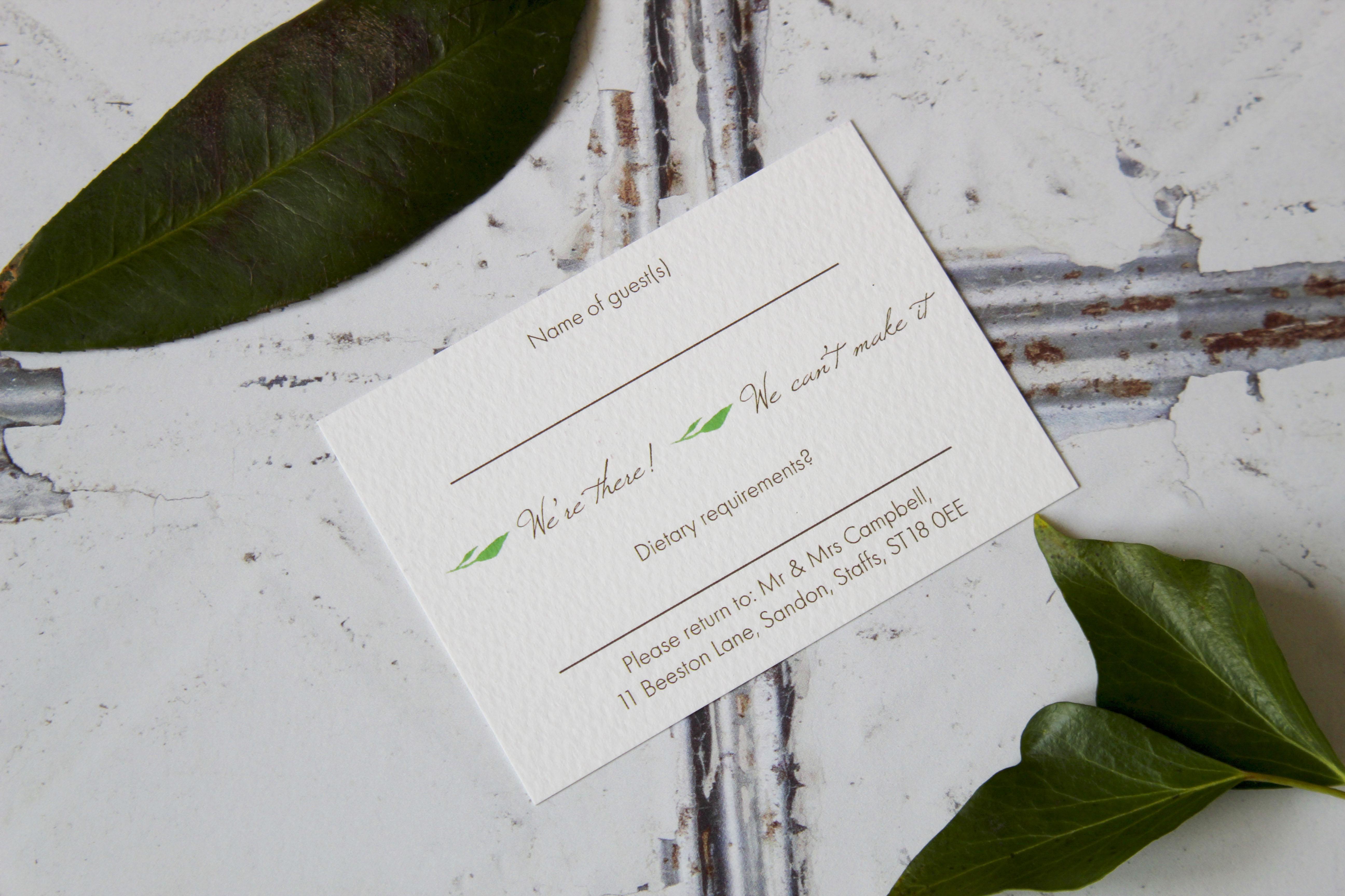 green botanical wedding stationery