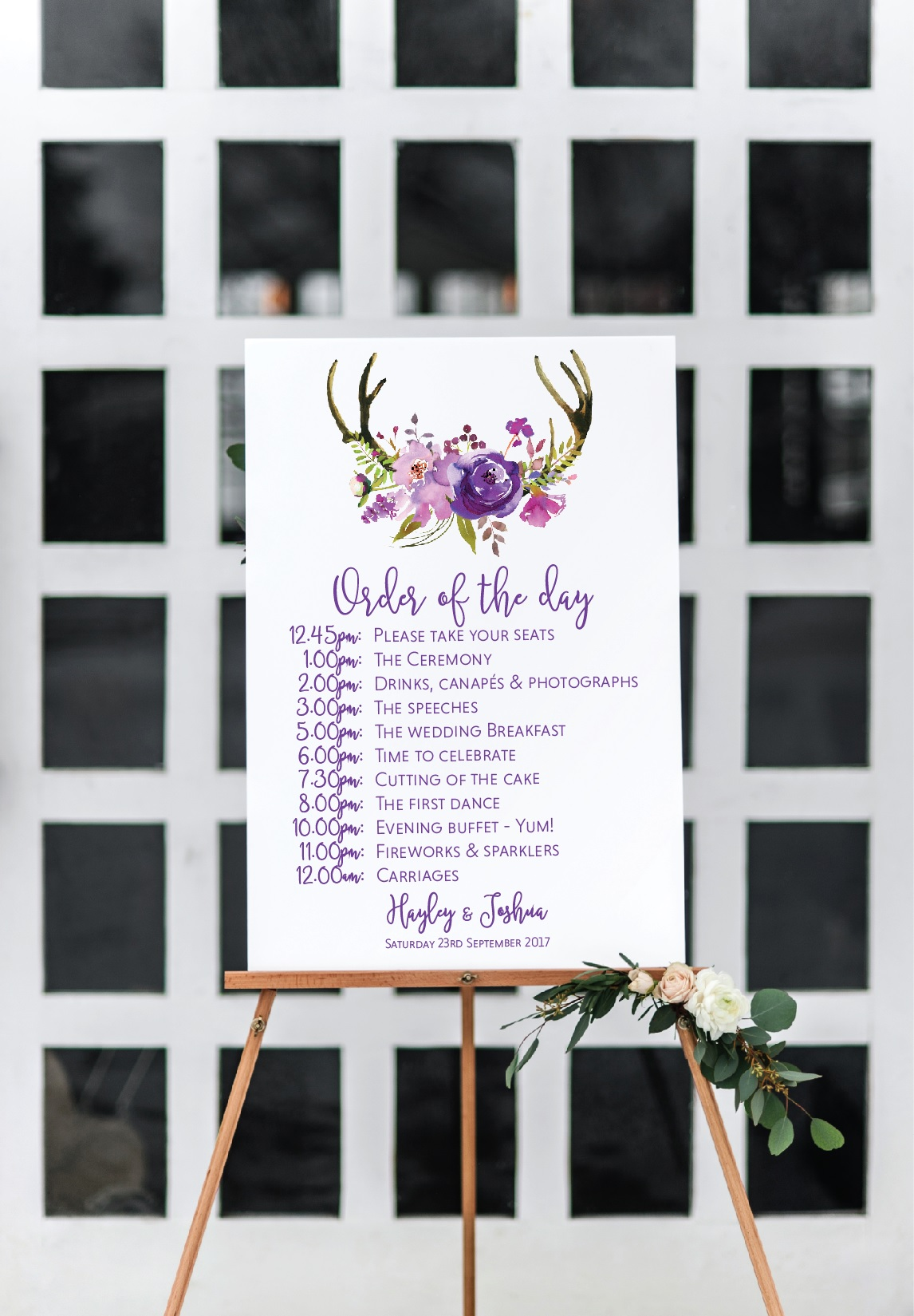 Boho wedding timeline sign
