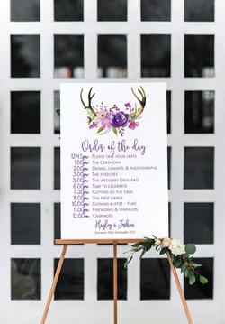 Boho wedding timeline sign
