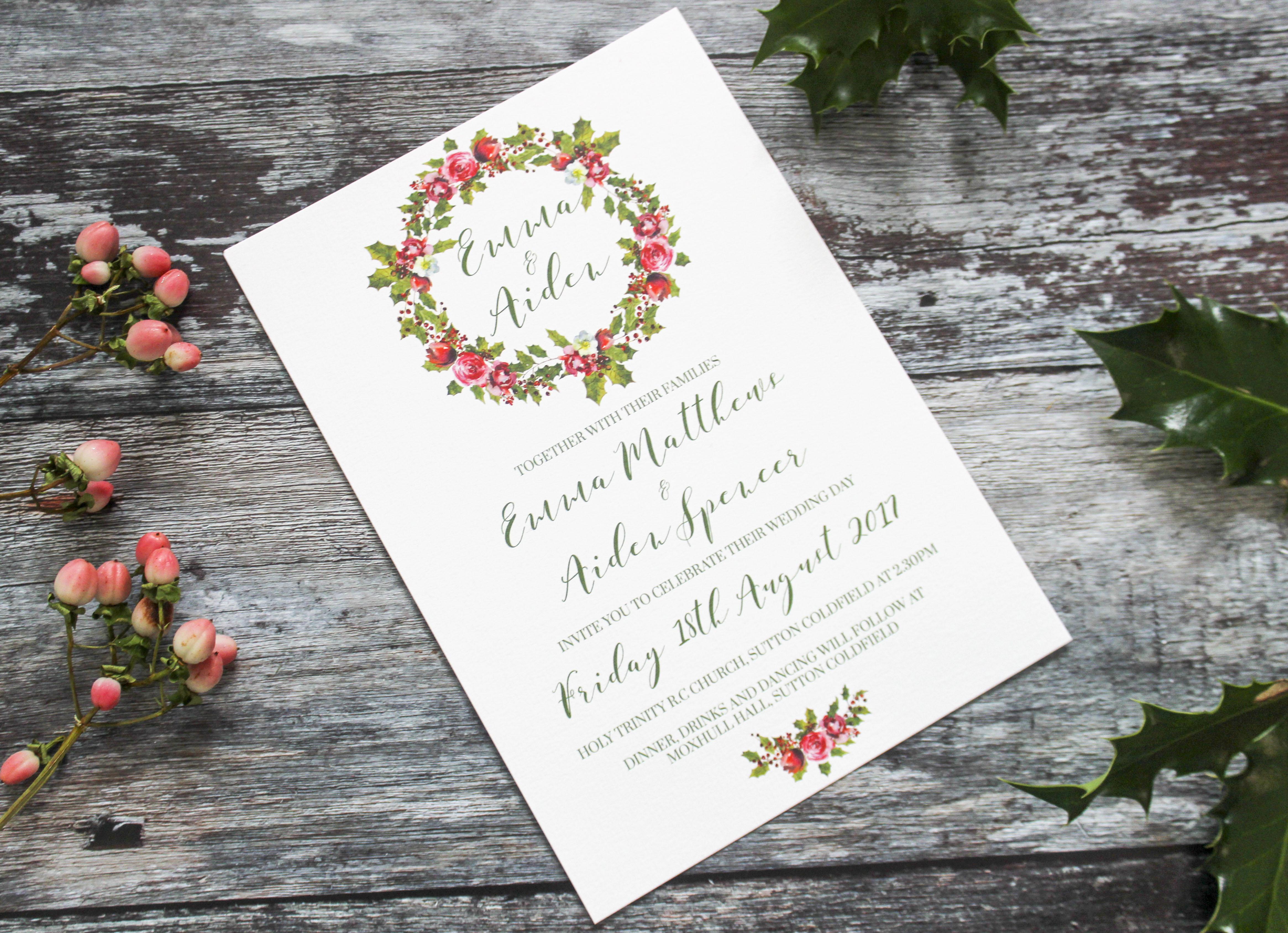 holly wreath wedding invitation