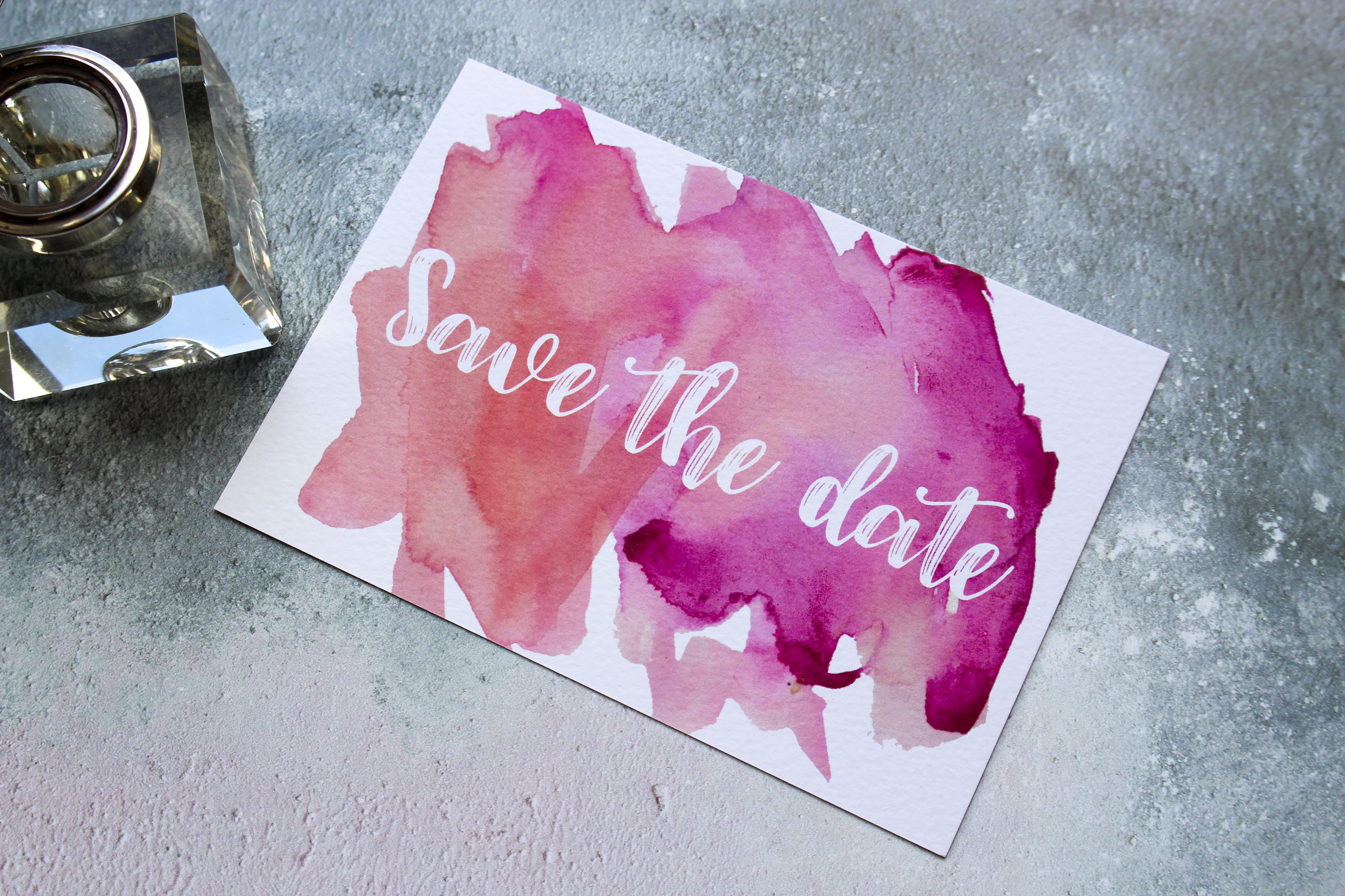 pink watercolour save the dates