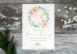 Spring wedding floral save the date