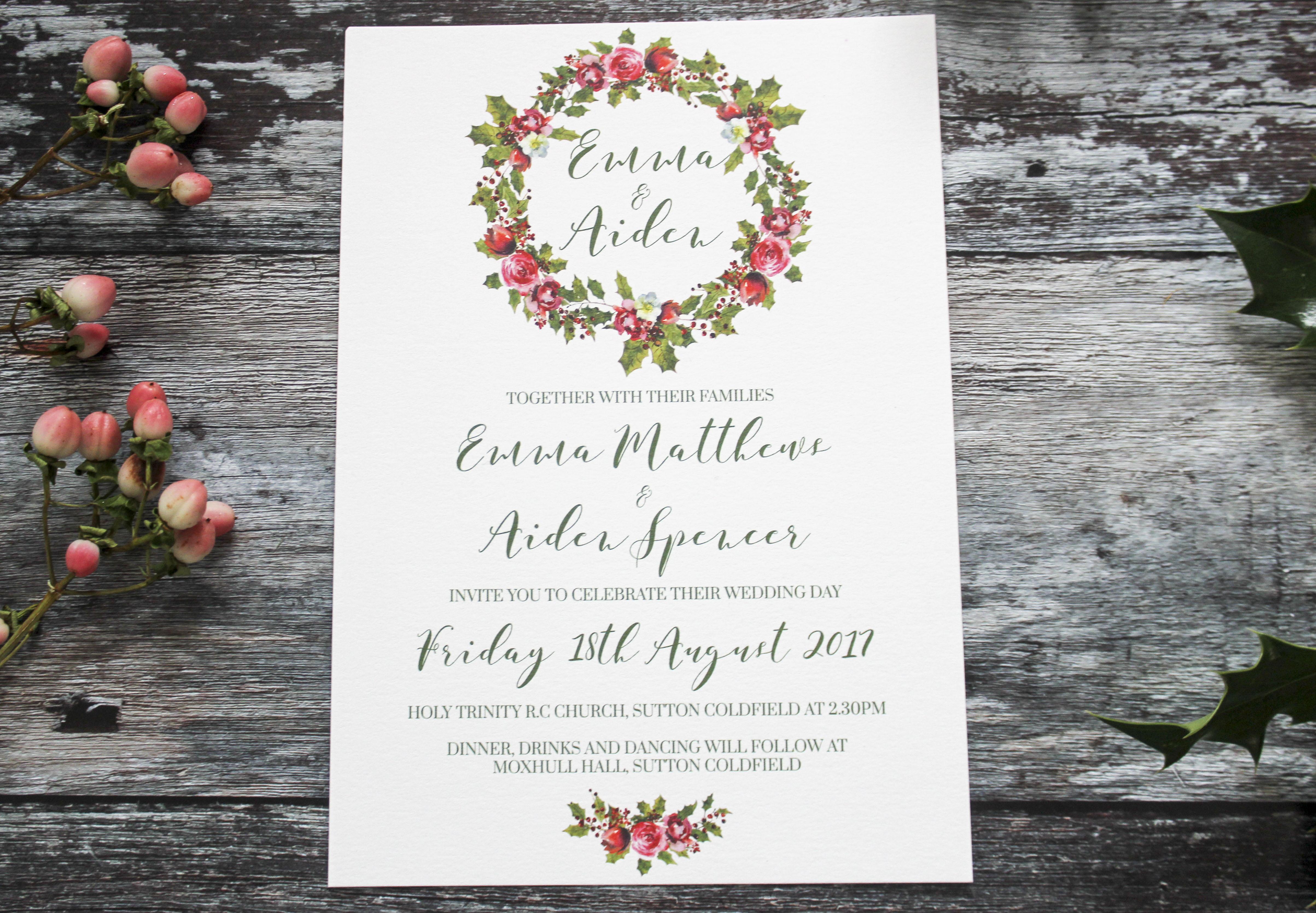 holly wreath wedding invite