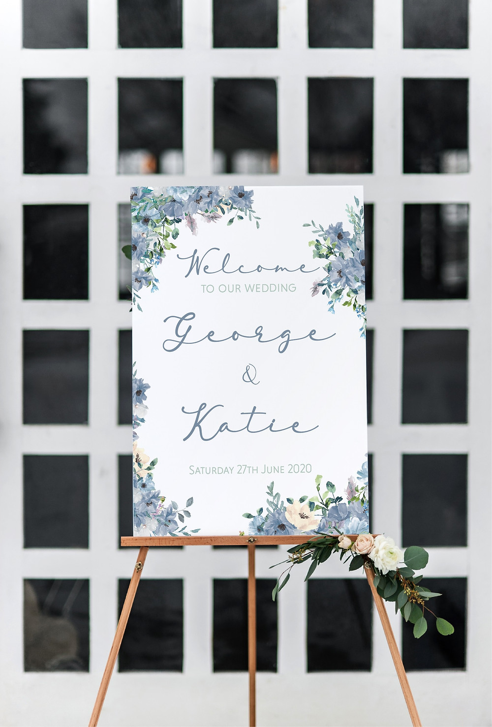 dusty blue floral wedding welcome sign
