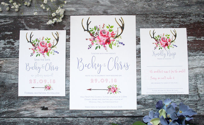 deer antler wedding invitaton spring wedding