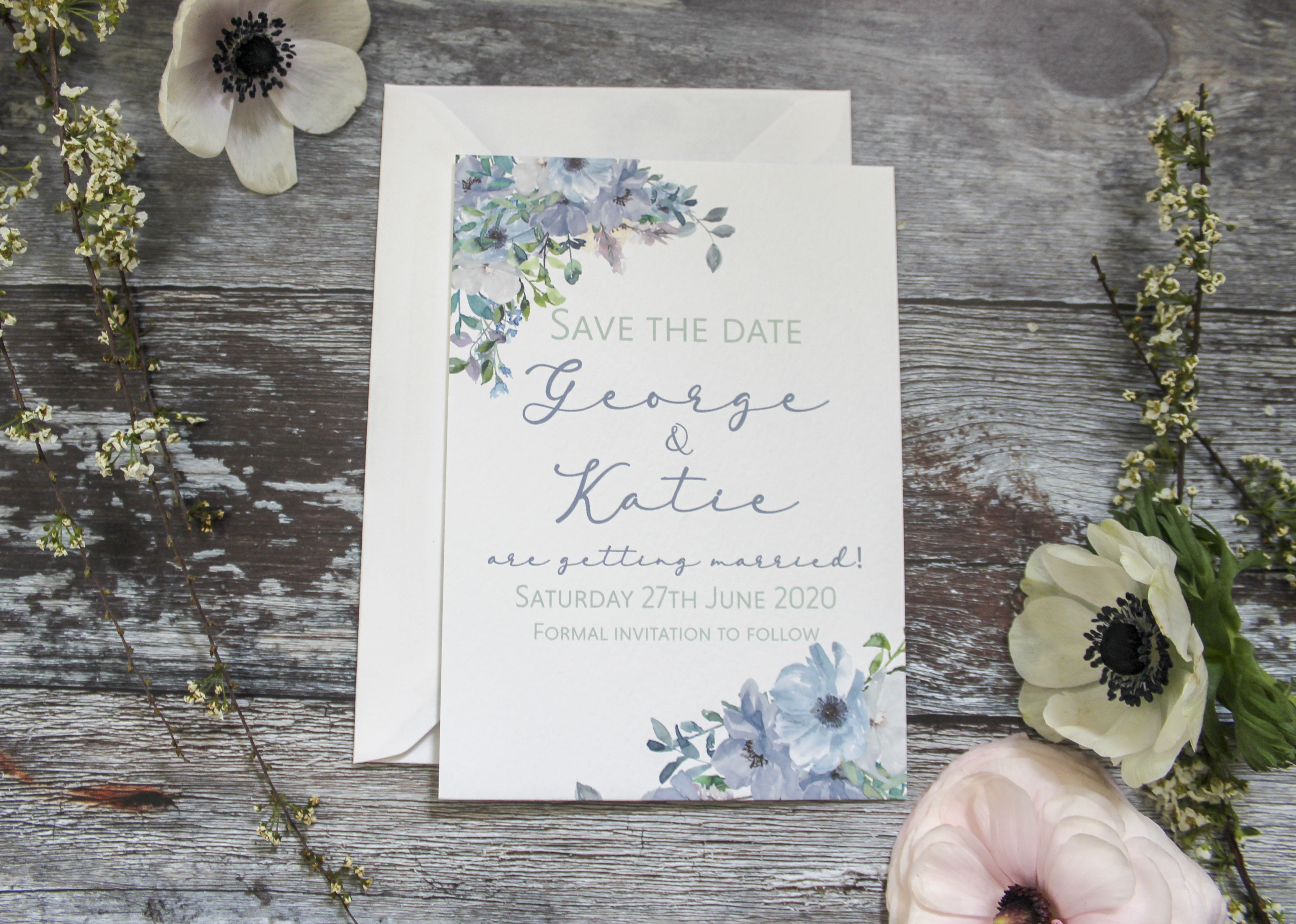 dusty blue save the date wedding