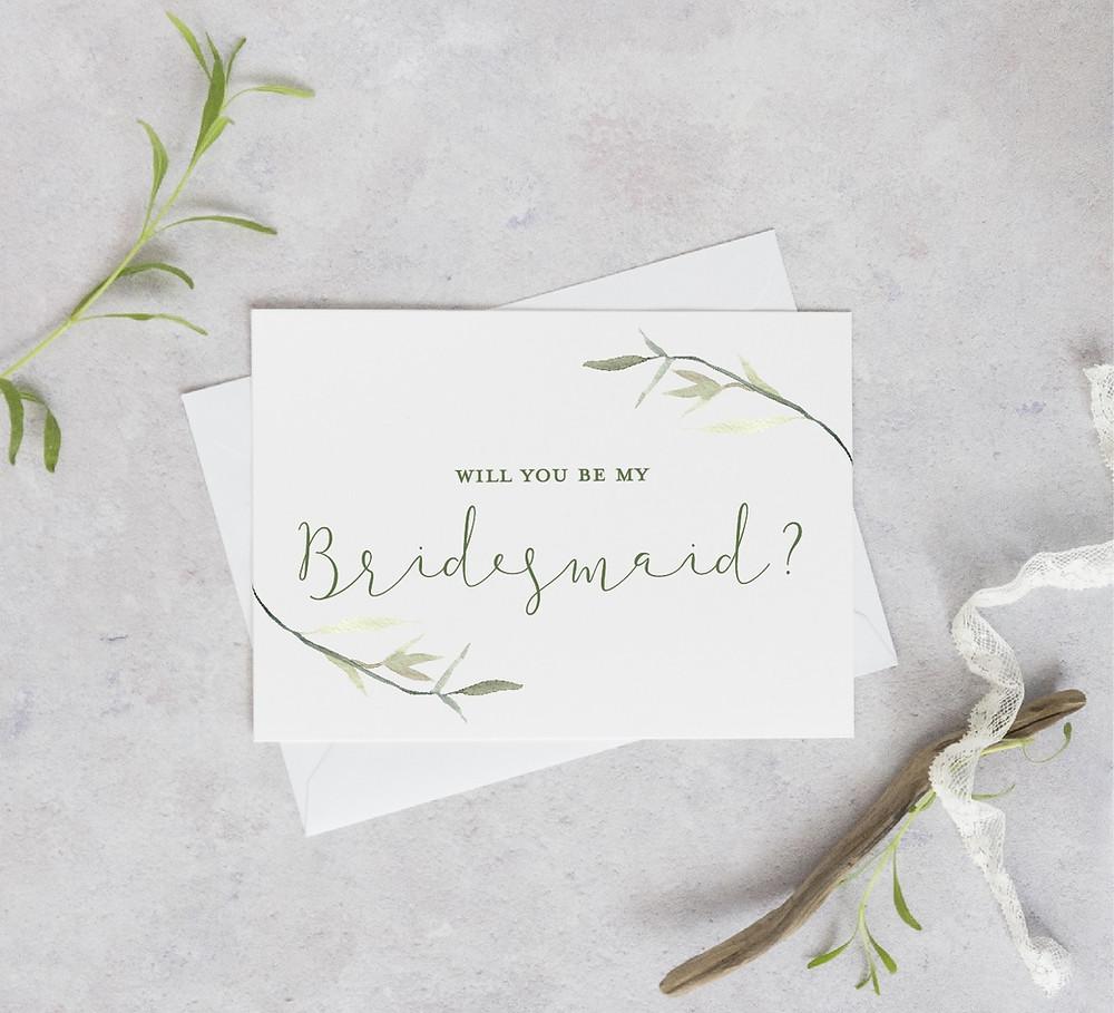 botanical bridesmaid proposal card