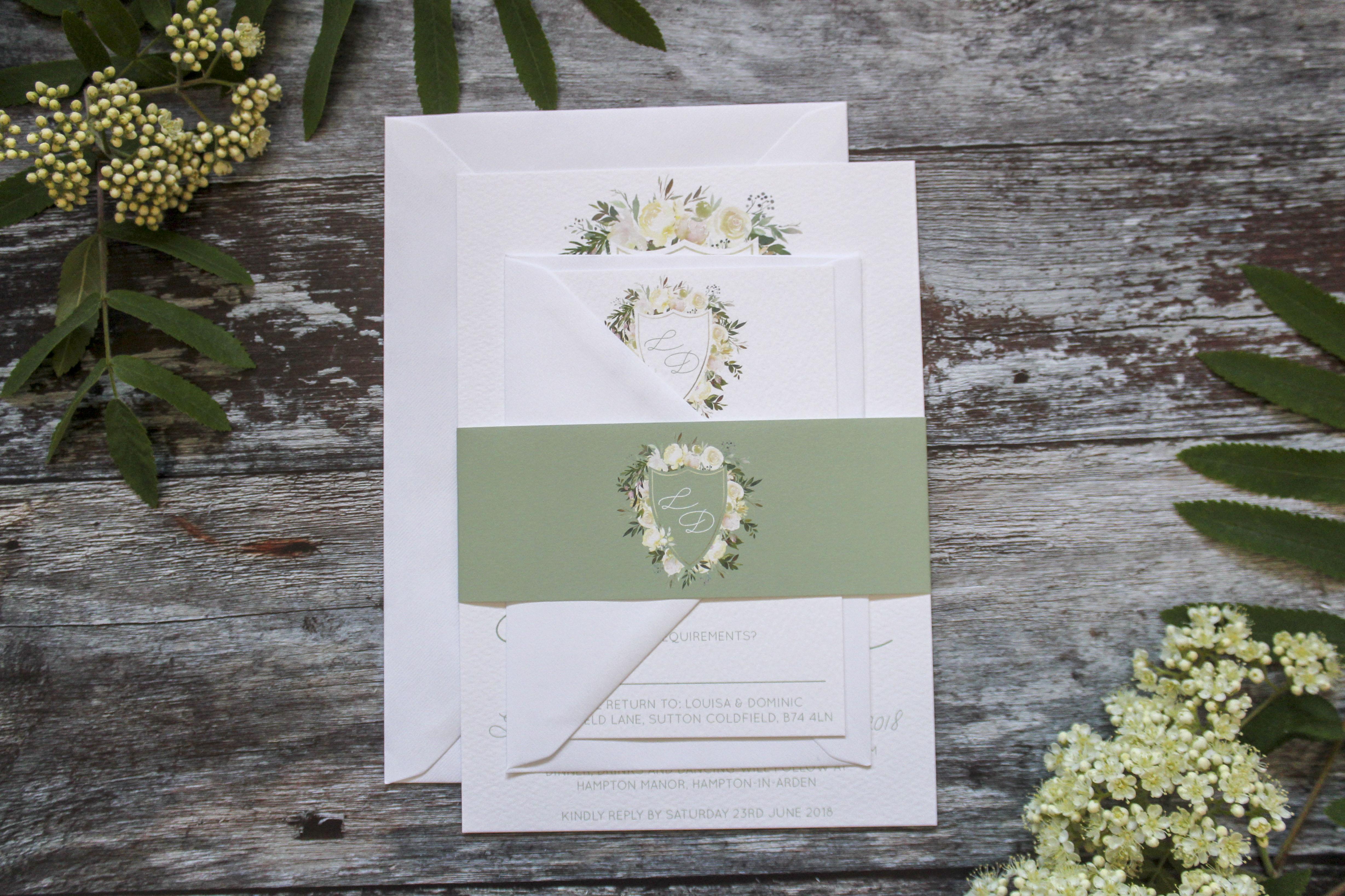 elegant greenery wedding stationery