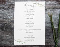 watercolour leaf menu
