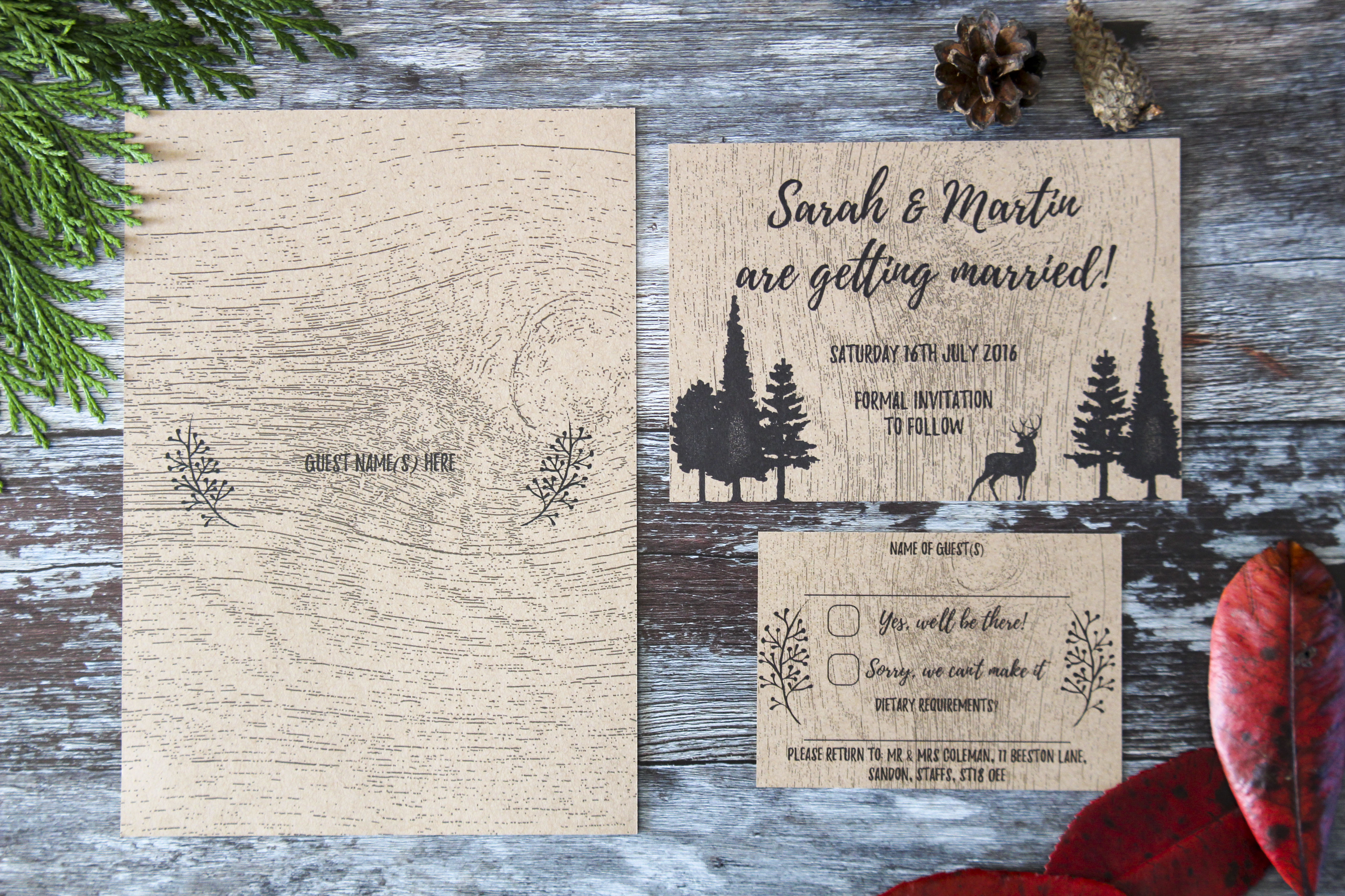rustic forest wedding stationery