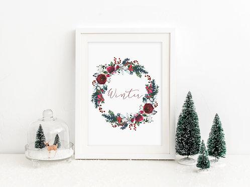Winter wreath print