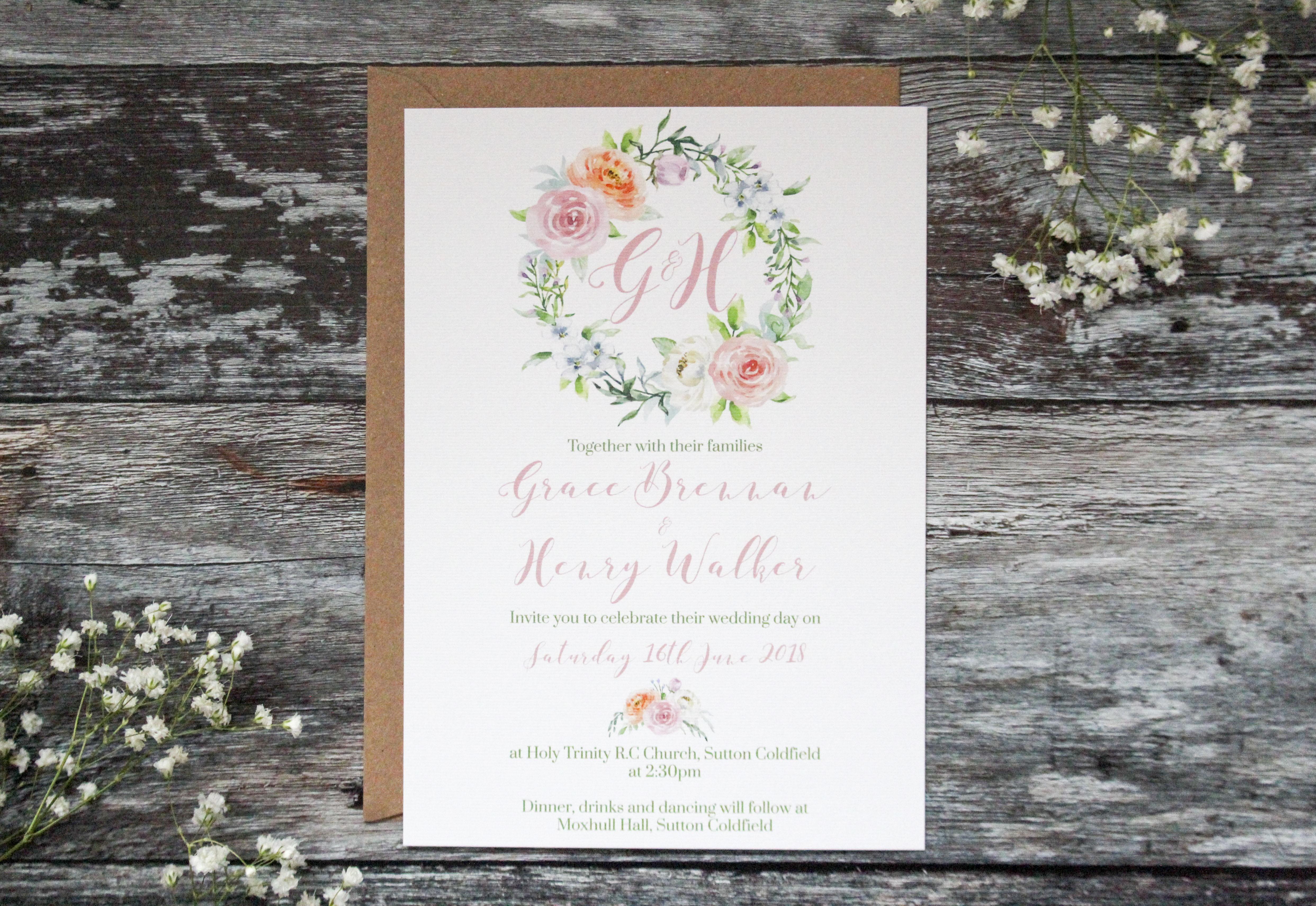 spring floral wedding invitation