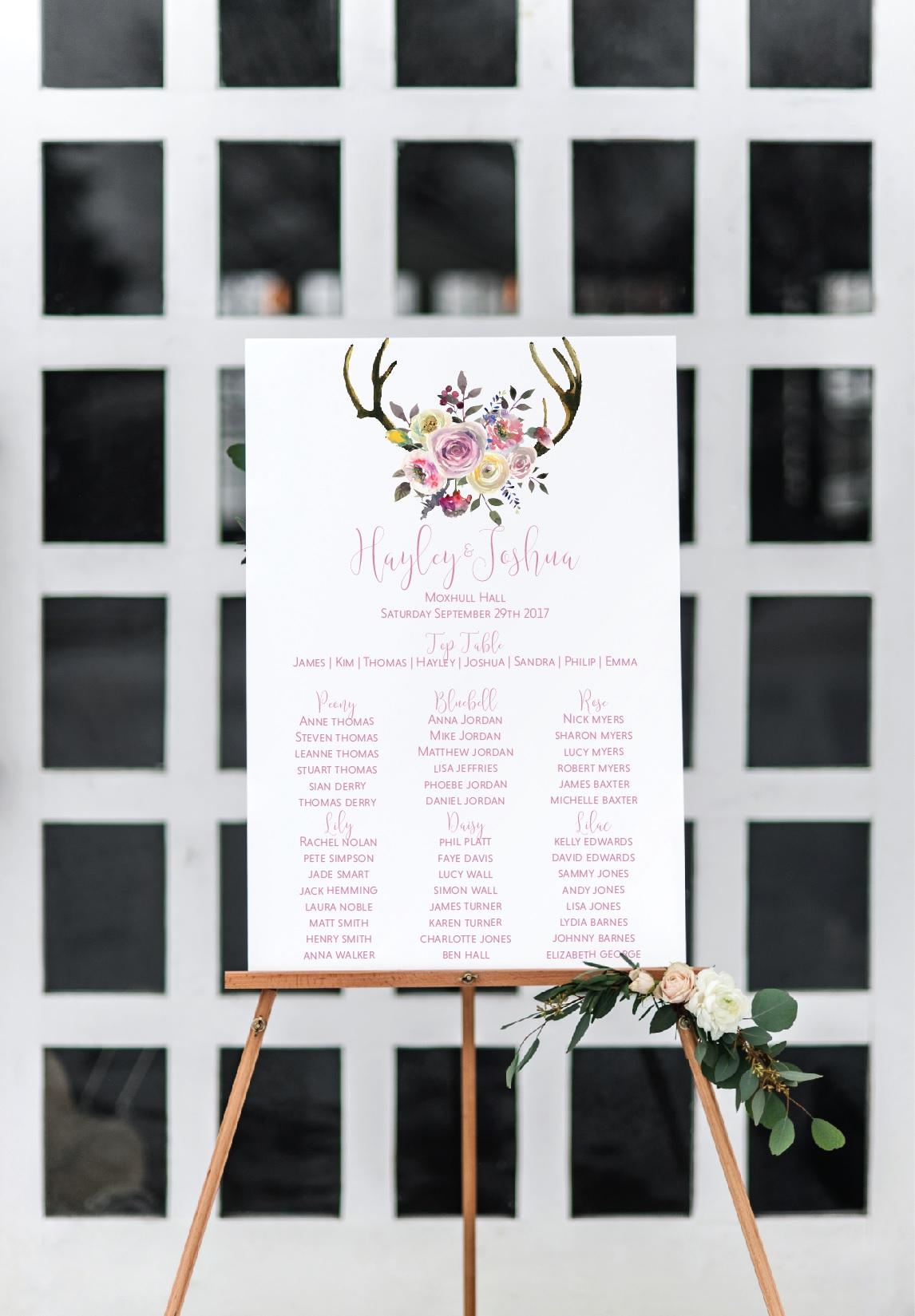 Pretty rustic wedding table plan