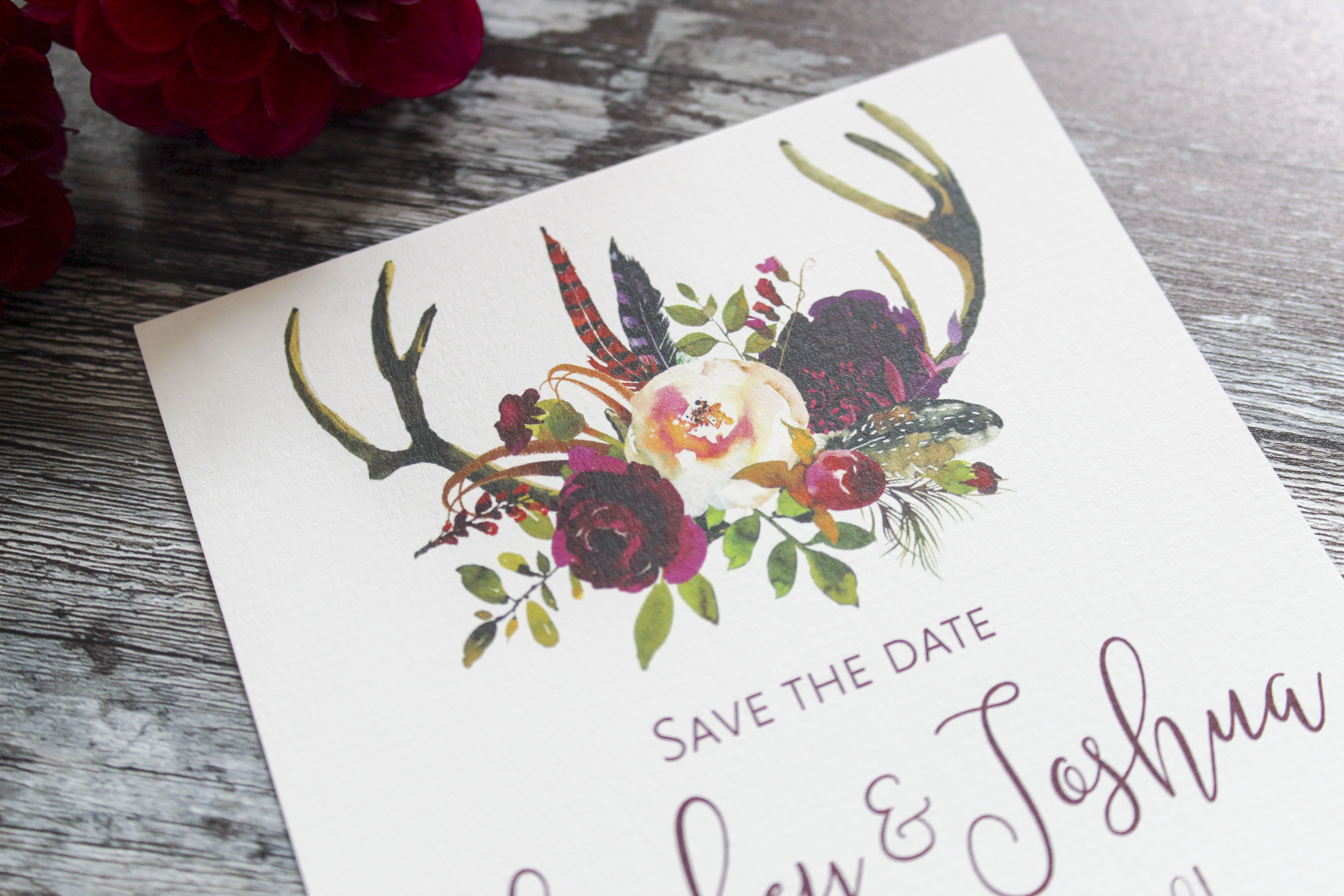 rustic floral save the dates