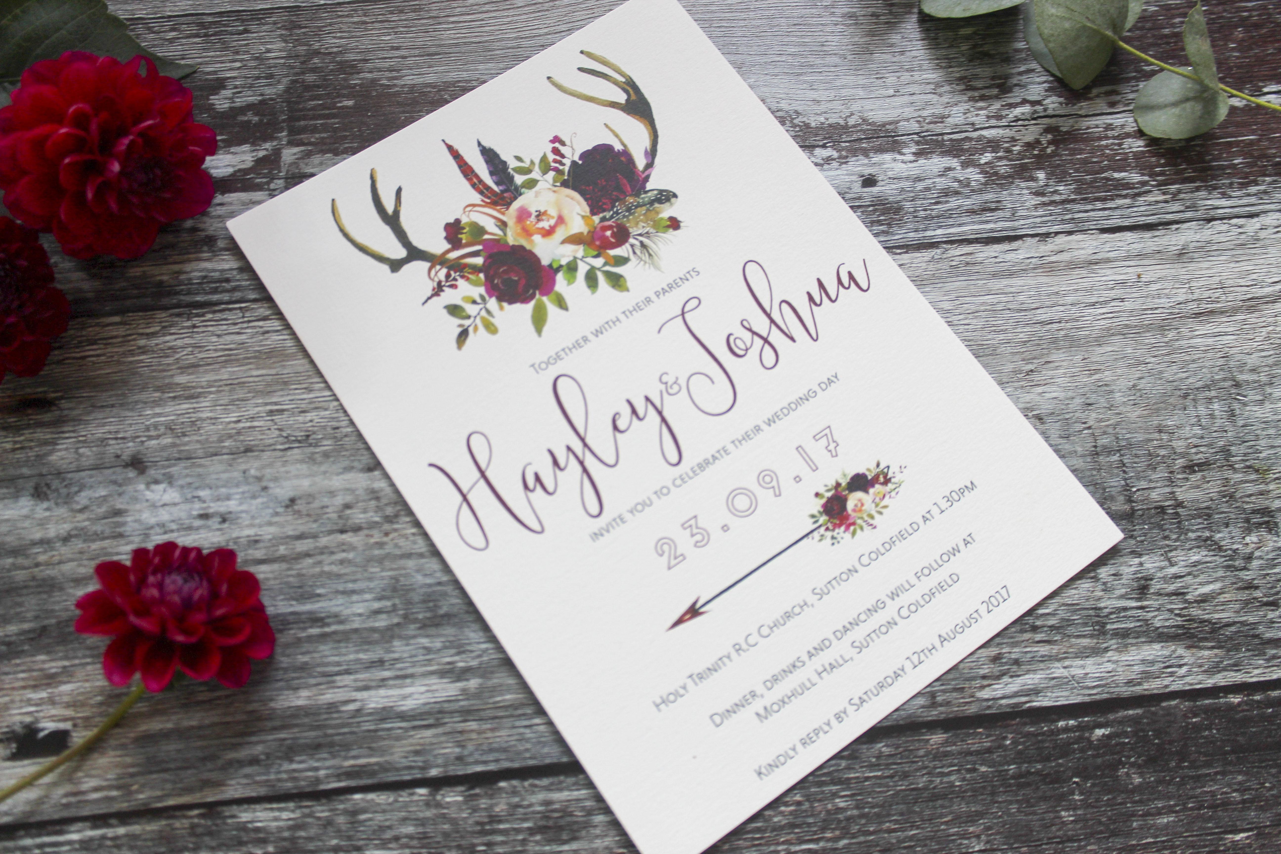 deer antler wedding invitation