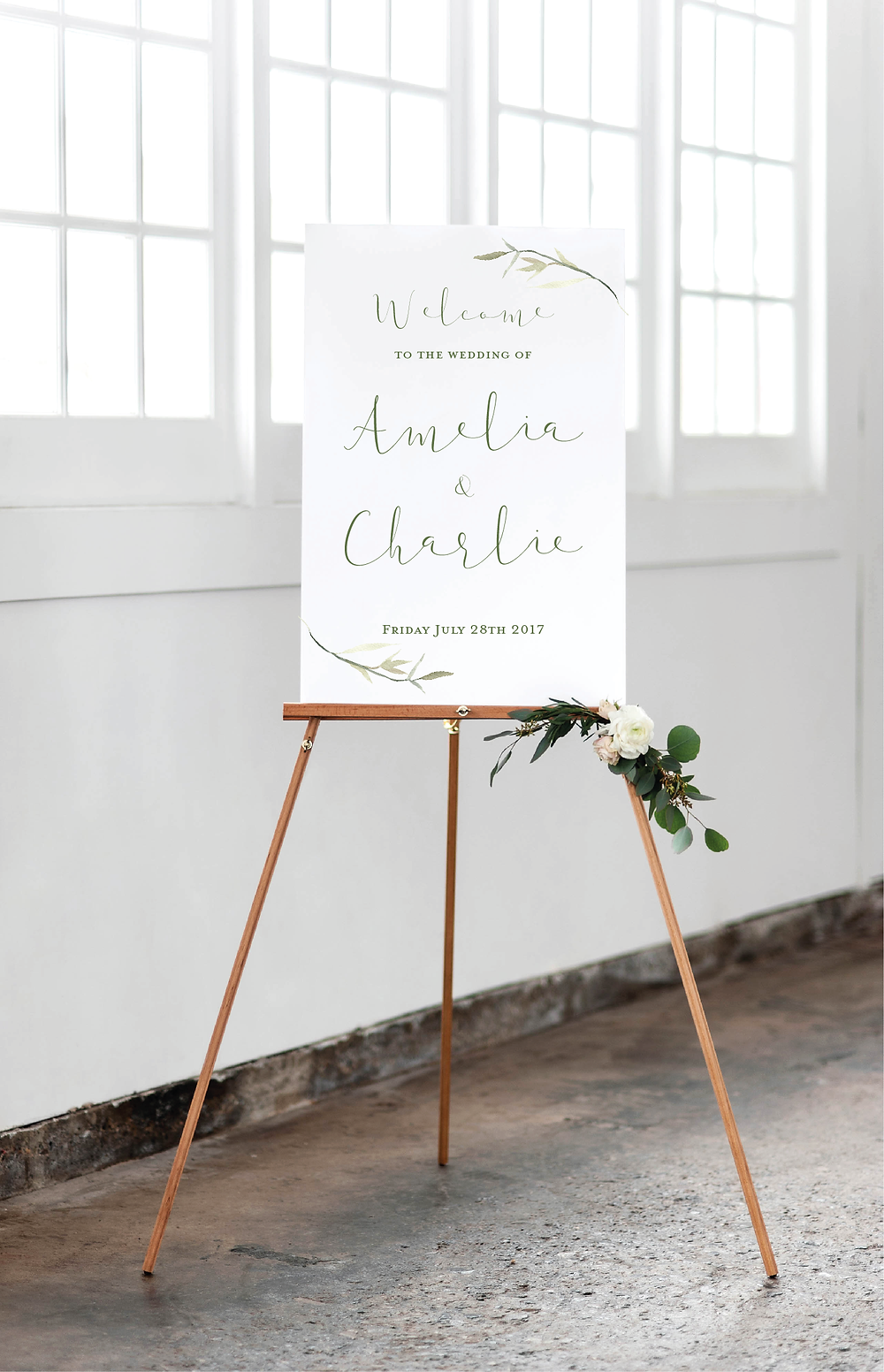 elegant leaf wedding welcome signage