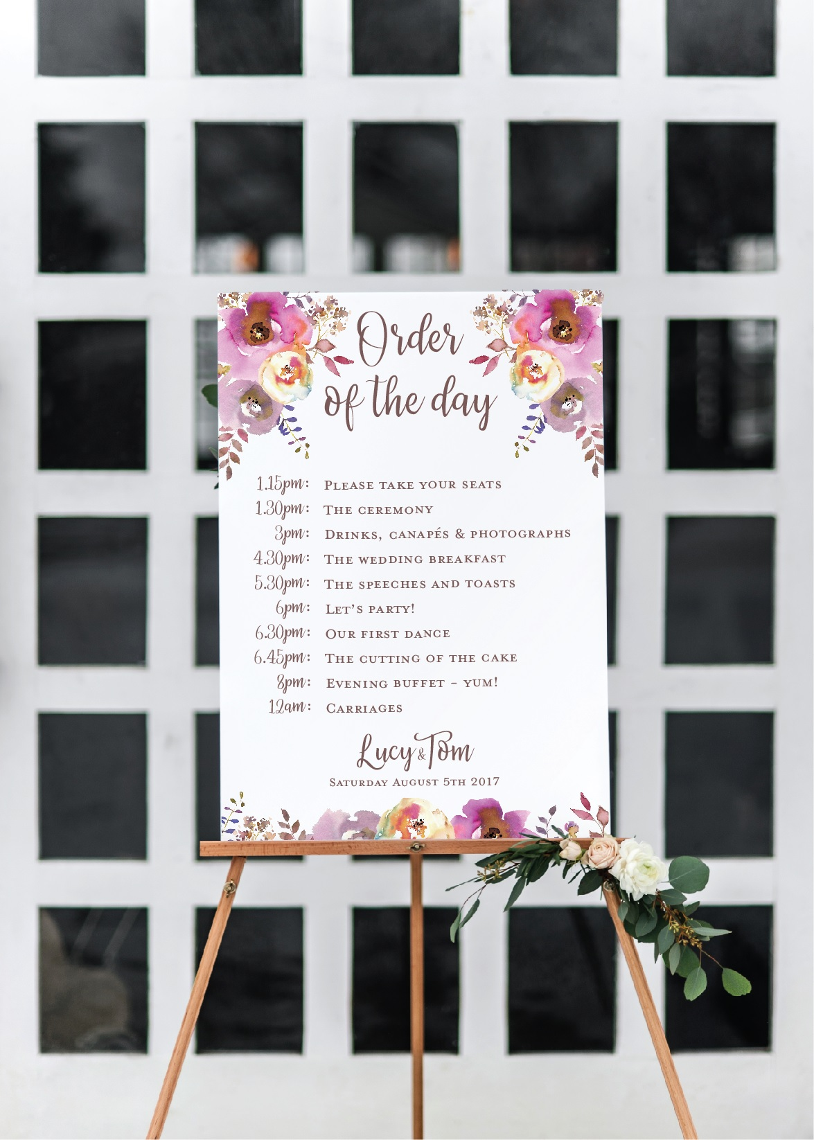 Rustic floral wedding timeline sign