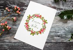 holly wreath wedding stationery