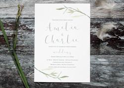 rustic watercolour wedding invites
