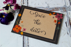 rustic floral kraft save the dates