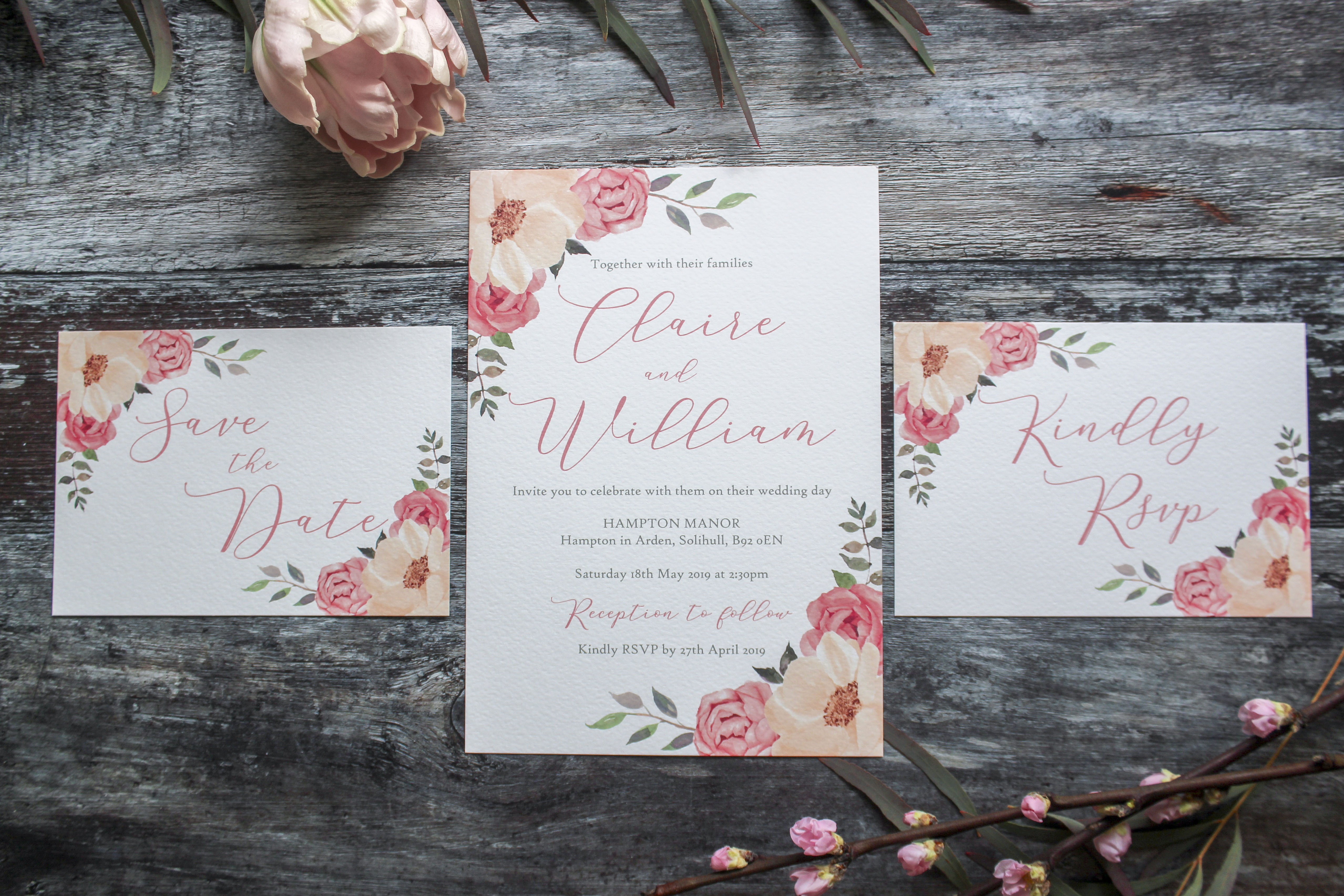 pink floral wedding stationery