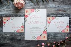 pink floral wedding stationery