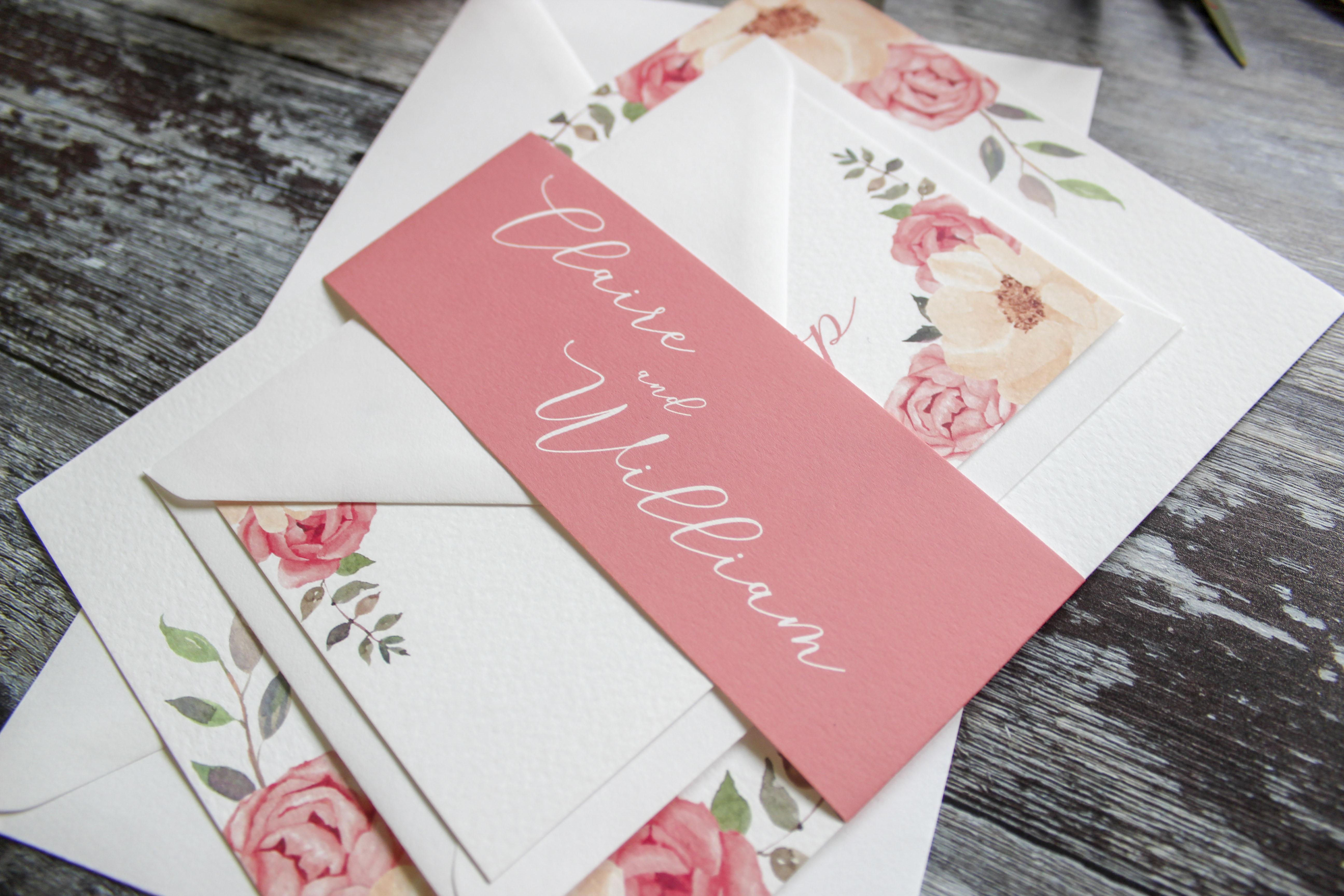 pink wedding stationery west midland