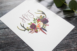 boho antler floral rsvp