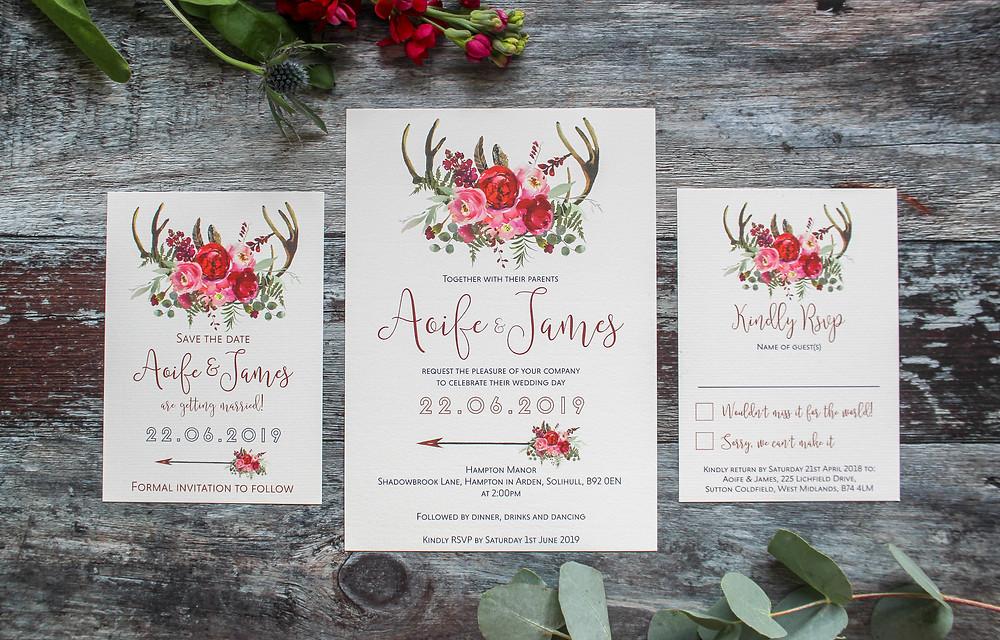 rustic floral eucalyptus antlers wedding invitations