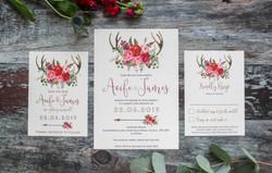 red floral deer antler wedding set