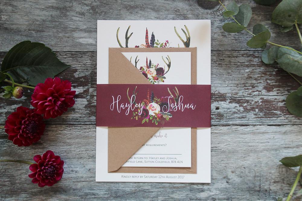 deer antler wedding stationery