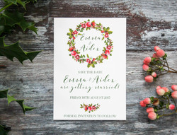winter wedding floral wreath save the date