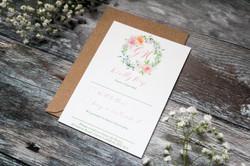pastel floral wedding stationery