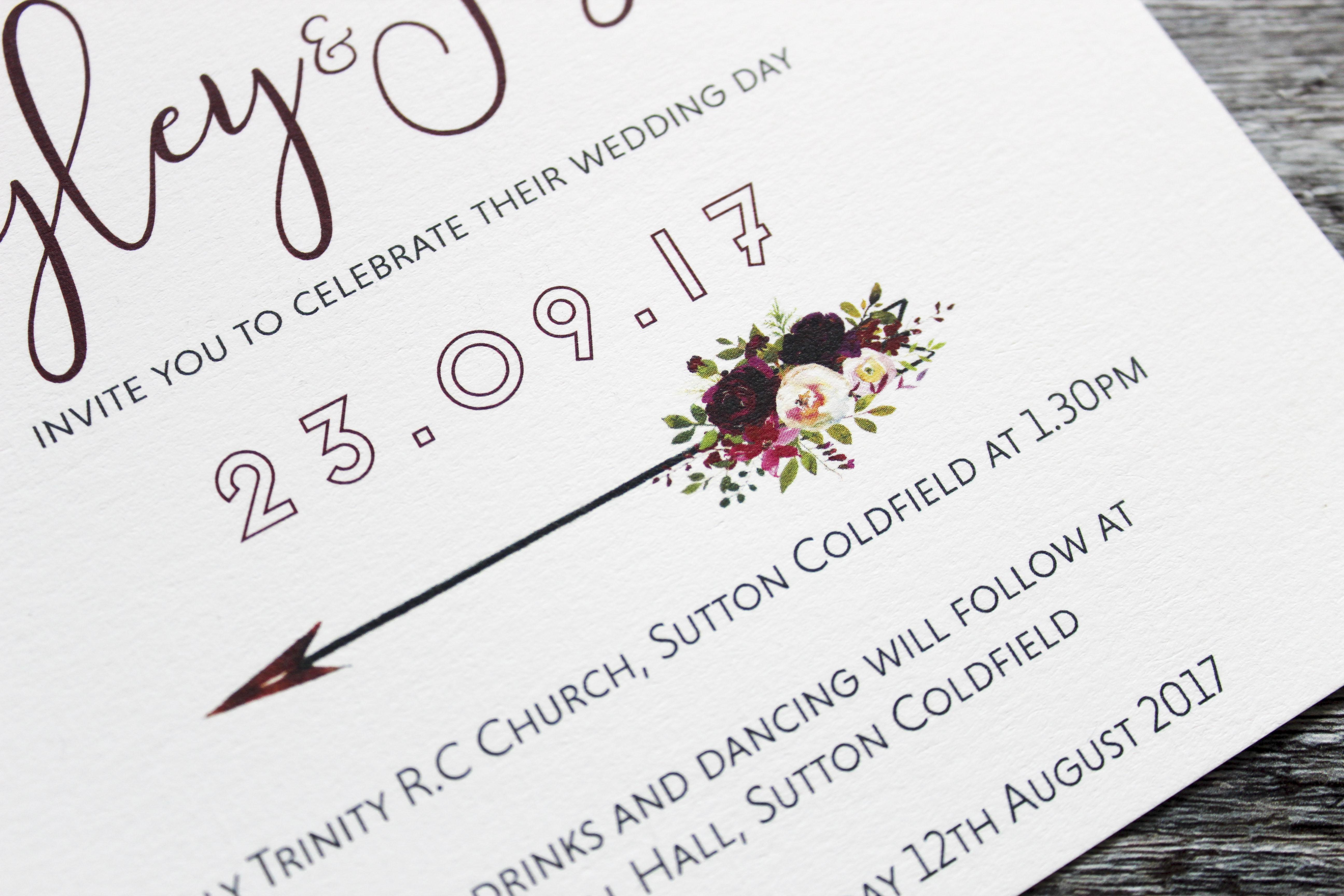 boho winter floral invite